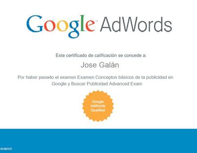 certificado adwords Examen de certificación de Google Adwords