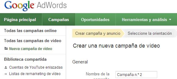 enlazar adwords youtube