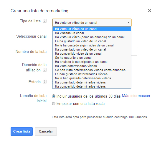 lista de remarketing video