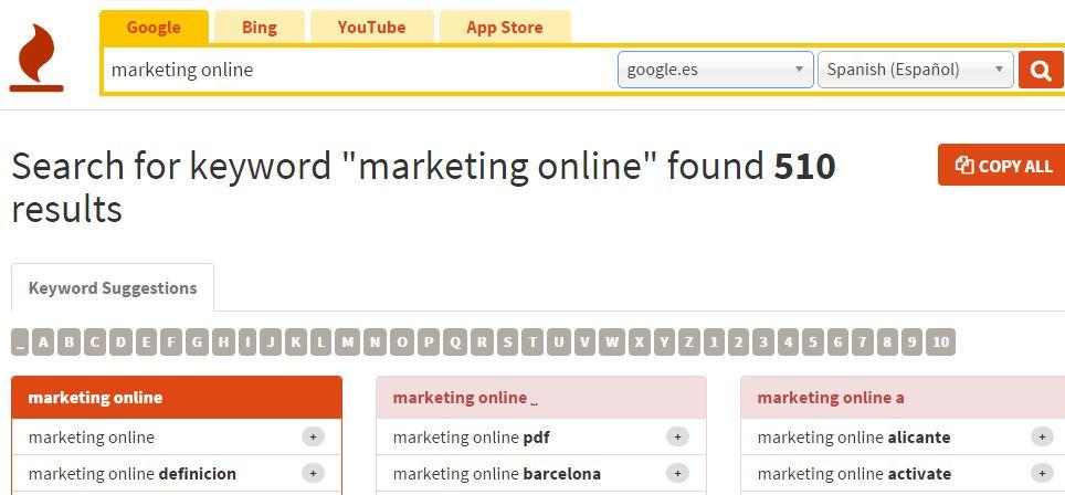 keywordtoolio resultados Elección de palabras clave con keywordtool.io