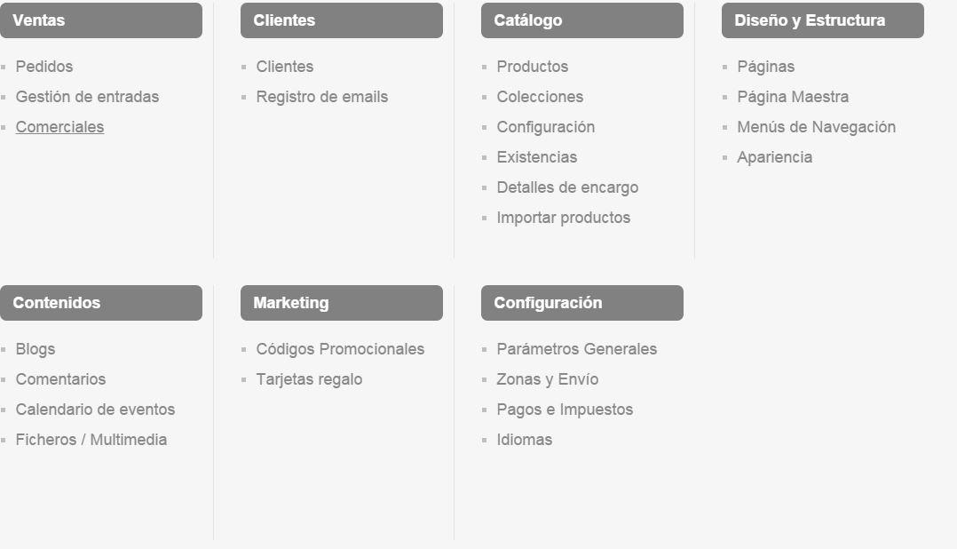 menu oleoshop1 Cómo crear tu tienda online de forma sencilla y rápida