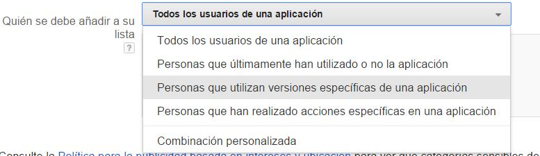 lista remarketing aplicación