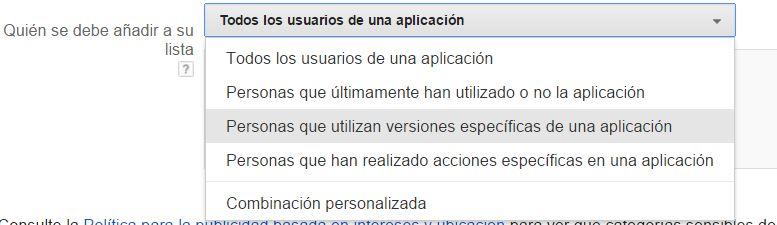lista remarketing aplicación