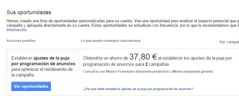 oportunidades adwords Diccionario de Google Adwords