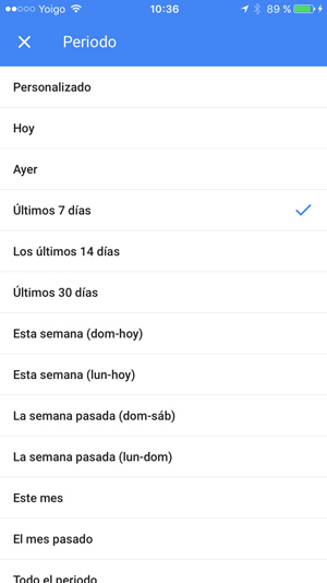 personalizar fechas app adwords