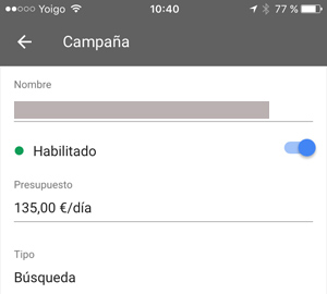 presupuesto diario app Disponible la app de Adwords para IOs