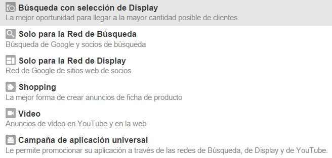 tipos campana adwords Diccionario de Google Adwords