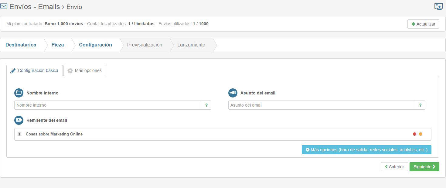 configuracion envio Te envio.com plataforma de email marketing en español fácil de usar