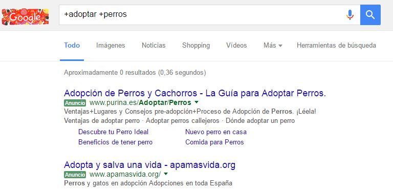 forzar palabras en google