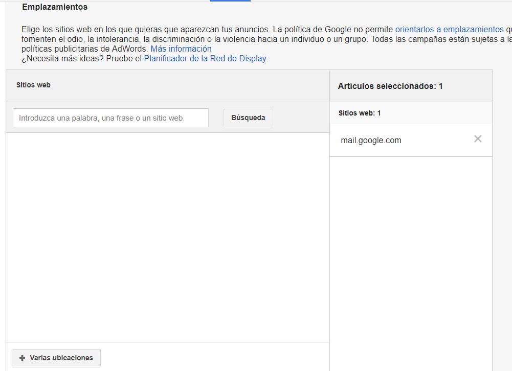 emplazamientos gmail