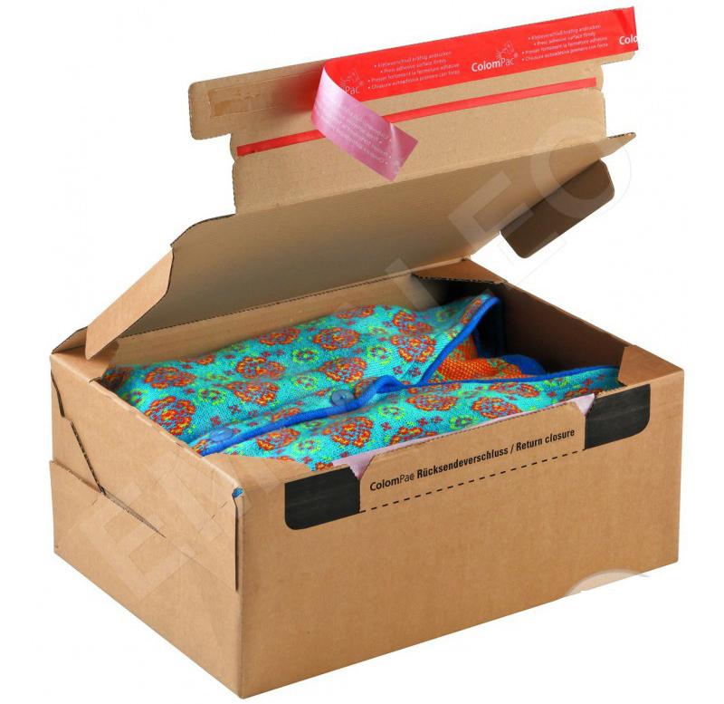 6ea76531a ... cartón para embalaje llamado cajas de ida y vuelta en el que se tienen  dos bandas adhesivas para cerrar la caja más fácilmente, una para el envío  y ...